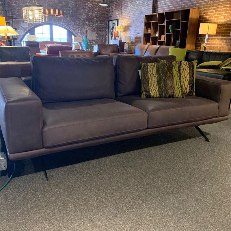 Italian Chocolate Leather Sofa
