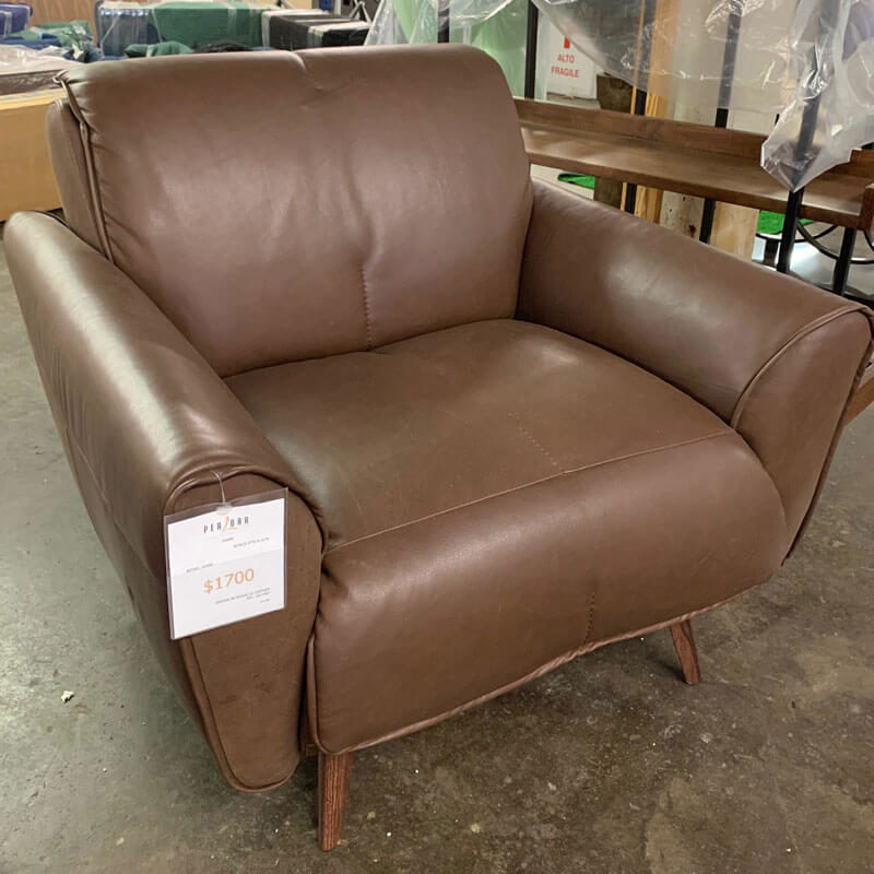 Natuzzi brown leather occasional chair