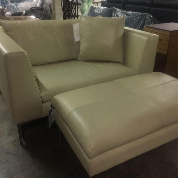 American Leather Chair With Ottoman