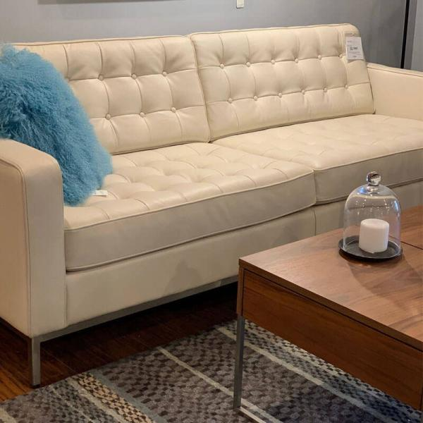 Tufted White Leather Sofa