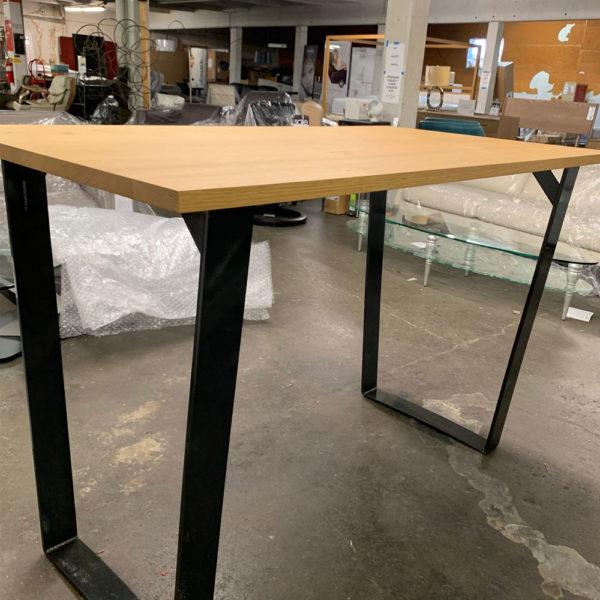 oak table with steel base