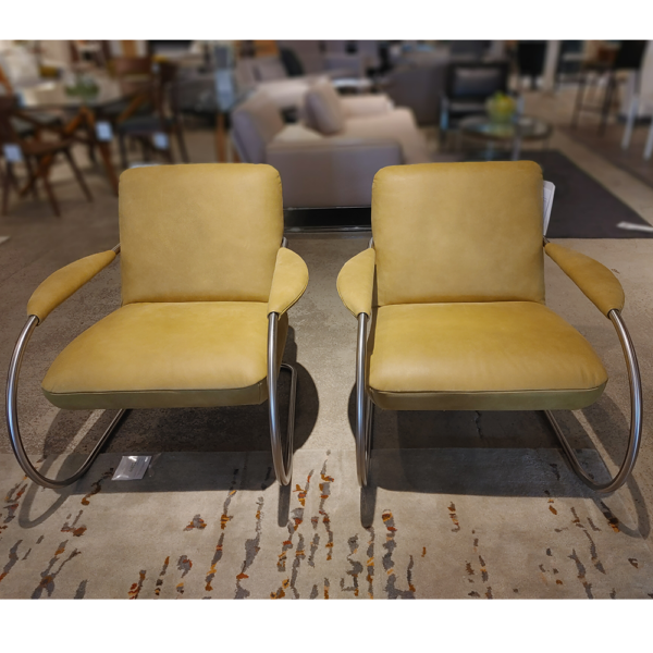 German Sueded Leather Armchairs
